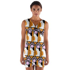 Cute Cat Hand Orange Wrap Front Bodycon Dress