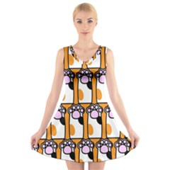 Cute Cat Hand Orange V-Neck Sleeveless Skater Dress