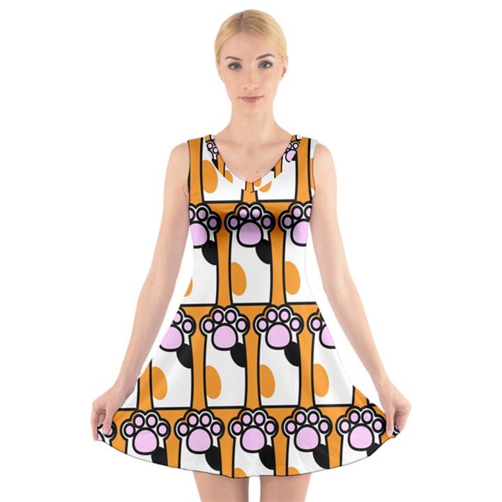 Cute Cat Hand Orange V-Neck Sleeveless Skater Dress
