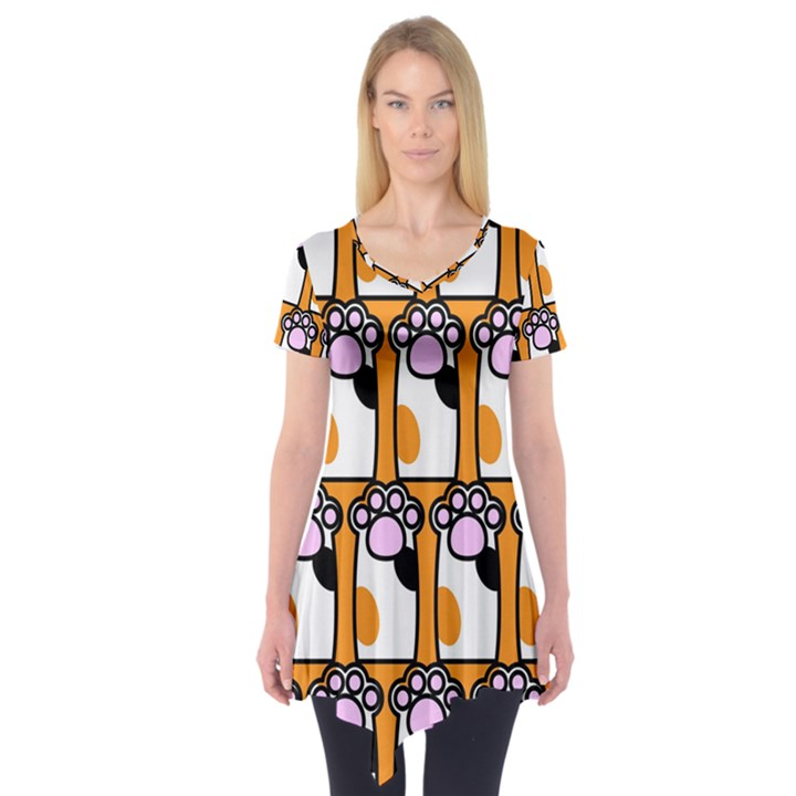 Cute Cat Hand Orange Short Sleeve Tunic