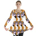Cute Cat Hand Orange Long Sleeve Tunic  View1