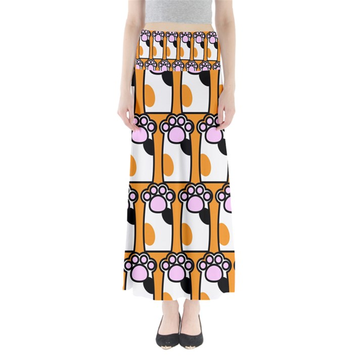 Cute Cat Hand Orange Maxi Skirts