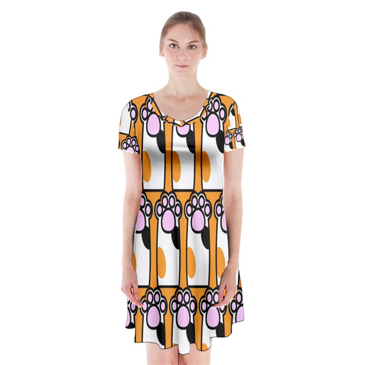 Cute Cat Hand Orange Short Sleeve V-neck Flare Dress