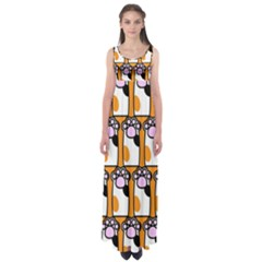 Cute Cat Hand Orange Empire Waist Maxi Dress