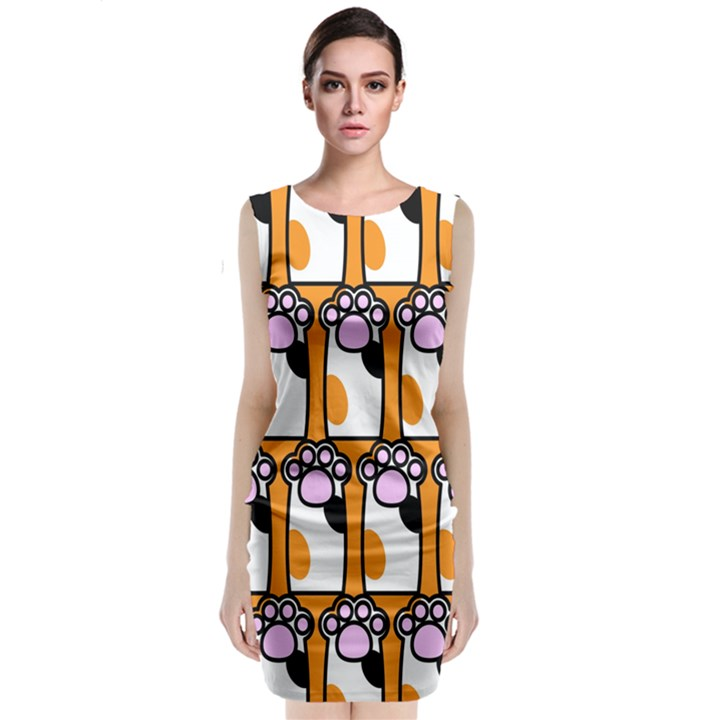 Cute Cat Hand Orange Classic Sleeveless Midi Dress