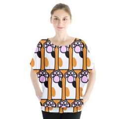 Cute Cat Hand Orange Blouse