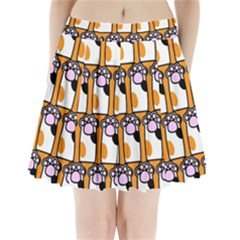 Cute Cat Hand Orange Pleated Mini Skirt