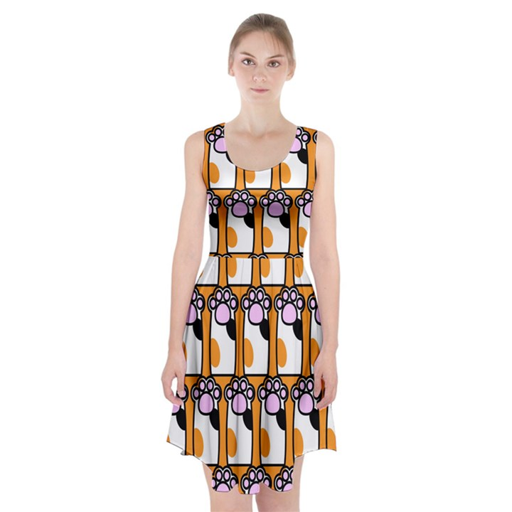 Cute Cat Hand Orange Racerback Midi Dress