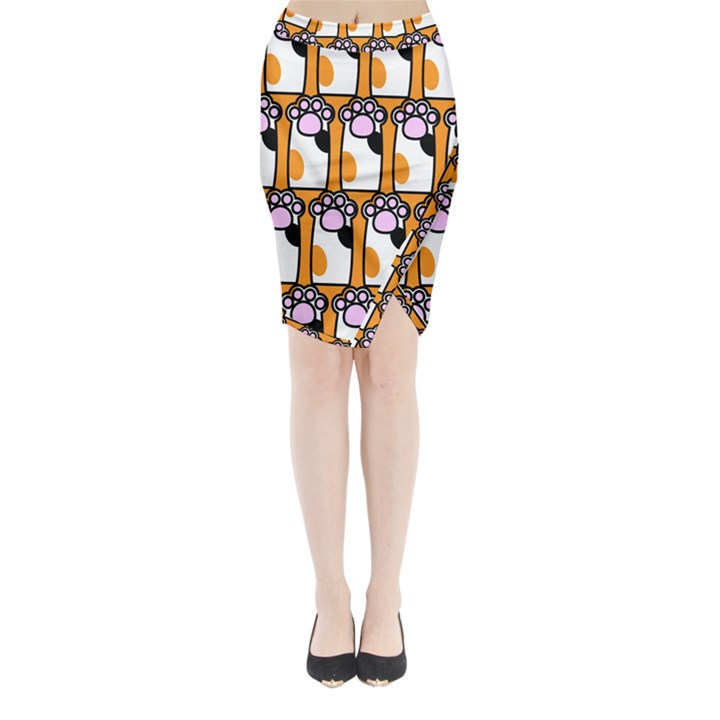 Cute Cat Hand Orange Midi Wrap Pencil Skirt