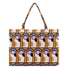 Cute Cat Hand Orange Medium Tote Bag
