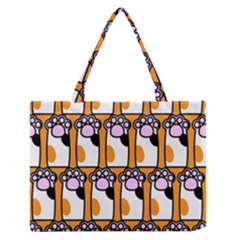 Cute Cat Hand Orange Medium Zipper Tote Bag