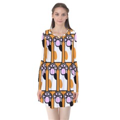 Cute Cat Hand Orange Flare Dress