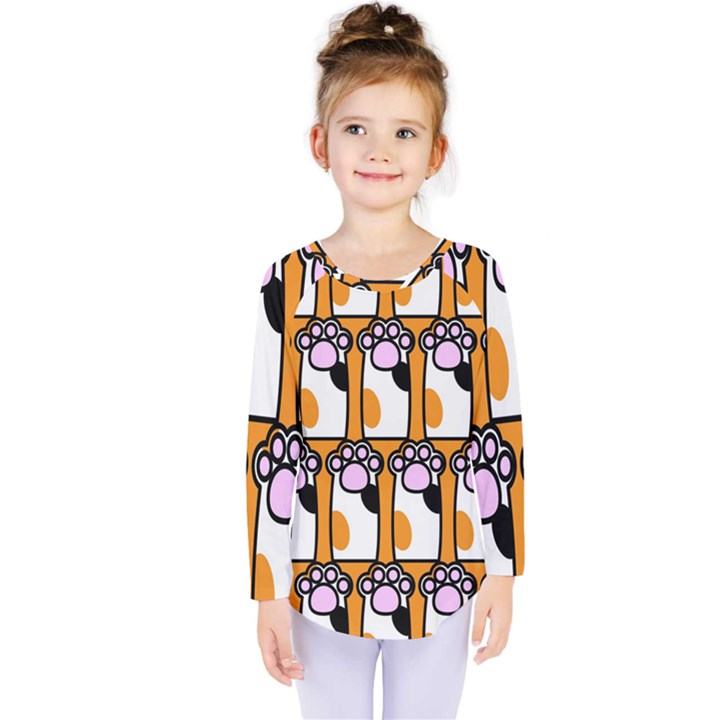Cute Cat Hand Orange Kids  Long Sleeve Tee