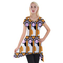Cute Cat Hand Orange Short Sleeve Side Drop Tunic