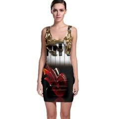 Classical Music Instruments Sleeveless Bodycon Dress