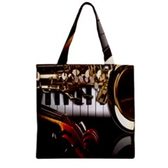 Classical Music Instruments Zipper Grocery Tote Bag