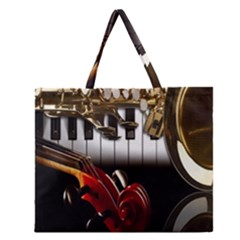 Classical Music Instruments Zipper Large Tote Bag