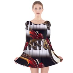 Classical Music Instruments Long Sleeve Velvet Skater Dress