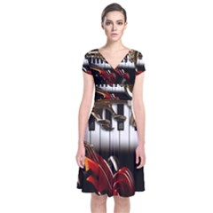 Classical Music Instruments Short Sleeve Front Wrap Dress