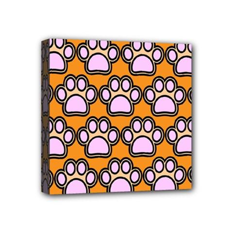 Dog Foot Orange Soles Feet Mini Canvas 4  x 4