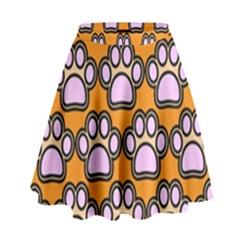 Dog Foot Orange Soles Feet High Waist Skirt