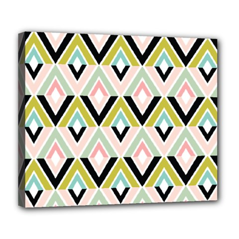 Chevron Pink Green Copy Deluxe Canvas 24  x 20