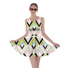 Chevron Pink Green Copy Skater Dress
