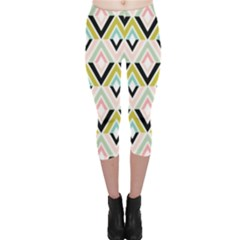 Chevron Pink Green Copy Capri Leggings