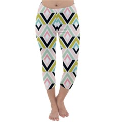 Chevron Pink Green Copy Capri Winter Leggings