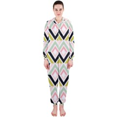 Chevron Pink Green Copy Hooded Jumpsuit (Ladies)