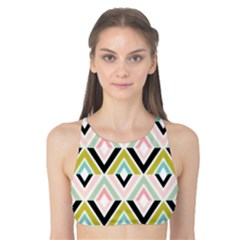 Chevron Pink Green Copy Tank Bikini Top