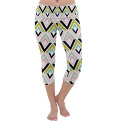Chevron Pink Green Copy Capri Yoga Leggings