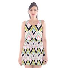 Chevron Pink Green Copy Scoop Neck Skater Dress