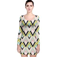 Chevron Pink Green Copy Long Sleeve Velvet Bodycon Dress