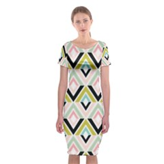 Chevron Pink Green Copy Classic Short Sleeve Midi Dress