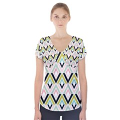 Chevron Pink Green Copy Short Sleeve Front Detail Top