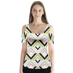 Chevron Pink Green Copy Butterfly Sleeve Cutout Tee