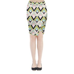 Chevron Pink Green Copy Midi Wrap Pencil Skirt