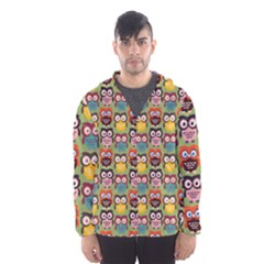 Eye Owl Colorful Cute Animals Bird Copy Hooded Wind Breaker (Men)