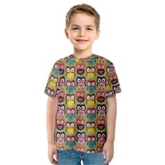 Eye Owl Colorful Cute Animals Bird Copy Kids  Sport Mesh Tee