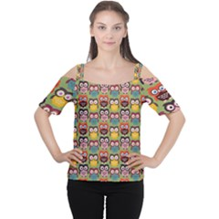 Eye Owl Colorful Cute Animals Bird Copy Women s Cutout Shoulder Tee