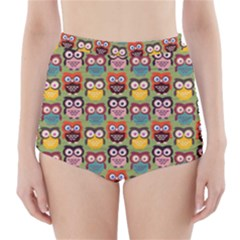Eye Owl Colorful Cute Animals Bird Copy High Waisted Bikini Bottoms