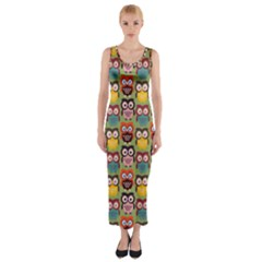 Eye Owl Colorful Cute Animals Bird Copy Fitted Maxi Dress
