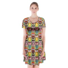 Eye Owl Colorful Cute Animals Bird Copy Short Sleeve V-neck Flare Dress