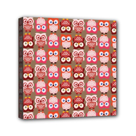 Eye Owl Colorfull Pink Orange Brown Copy Mini Canvas 6  x 6
