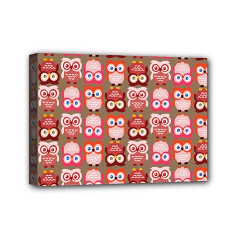 Eye Owl Colorfull Pink Orange Brown Copy Mini Canvas 7  x 5