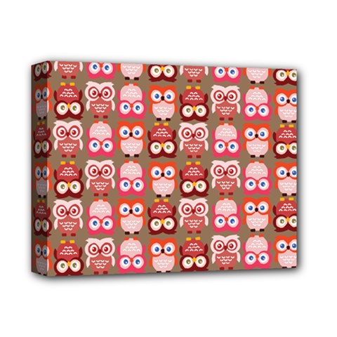 Eye Owl Colorfull Pink Orange Brown Copy Deluxe Canvas 14  x 11