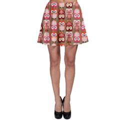 Eye Owl Colorfull Pink Orange Brown Copy Skater Skirt