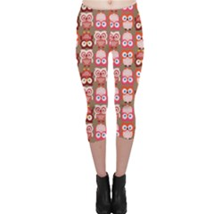 Eye Owl Colorfull Pink Orange Brown Copy Capri Leggings