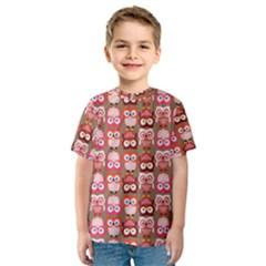 Eye Owl Colorfull Pink Orange Brown Copy Kids  Sport Mesh Tee